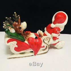 Vintage Kreiss & Co Santa Claus Pulling Sleigh Sleeping Reindeer Figurine Japan