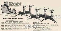 Vintage Large 3 Set Rudolph Rednose Reindeer Mold-Craft Mechanical Santa Sleigh