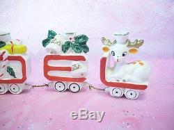 Vintage Lefton Christmas Santa Noel Train Reindeer Gift Bell Sleigh Figurine BOX