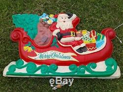 Vintage Lighted Santa, Sleigh and Reindeer Lawn Display with stakes