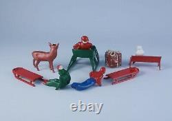 Vintage Lot Barclay Christmas & Winter Figures incl Santa Reindeer & Sleigh