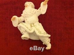Vintage Lot O'Well White Porcelain Christmas Santa Sleigh Gold accents Reindeer