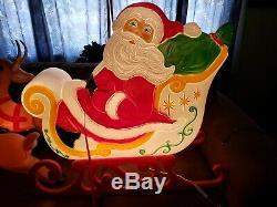 Vintage Lrg Christmas Blow Mold Santa Claus Sleigh + 3 Reindeer Grand Venture