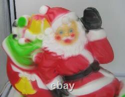 Vintage Miniature Empire Light Up Blow Mold Santa Sleigh Reindeer-works-nice