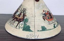 Vintage Noma 1930s RARE CHRISTMAS METAL TREE STAND SANTA, SLEIGH AND REINDEER
