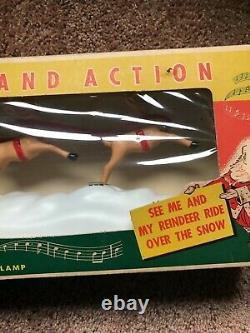 Vintage Paramount Santa Reindeer & Sleigh Action Music