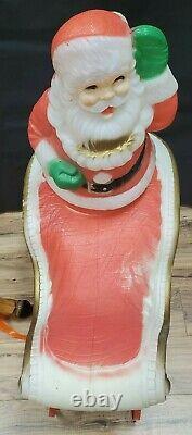 Vintage Poloron Santa Sleigh Reindeer Blow Mold Christmas Yard Decor Light