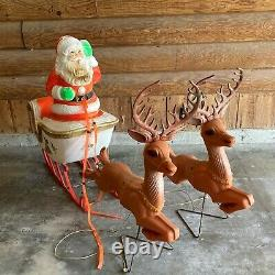 Vintage Poloron Santa Sleigh Sled 2 Reindeer Blow Mold Christmas Holiday Outdoor