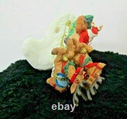 Vintage Porcelain Santa In Sleigh With Flying Reindeer Statue Figurine By Jaimy