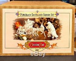 Vintage Porcelain Santa Sleigh Reindeer 2001 Set Grandeur Noel Collectors Editio