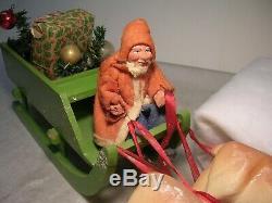 Vintage Rare 1930s Christmas Paper Mache Santa Figure Germany Sled Reindeer