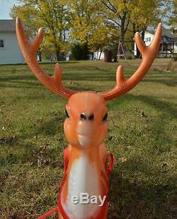 Vintage Rare Empire Plastics Animated Santa Sleigh & Reindeer Blowmold