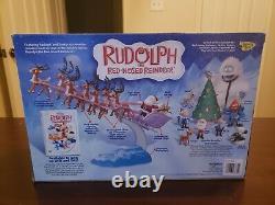 Vintage Rudolph The Red Nosed Reindeer Santas Sleigh & Reindeer Team (NIB)
