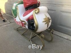 Vintage SANTA SLEIGH REINDEER Christmas Blowmold GENERAL FOAM Lighted Yard SHIPS