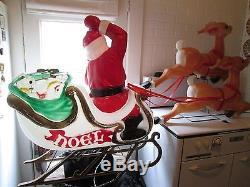 Vintage Santa Blow Mold in 41 Sleigh with Reindeer
