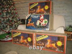Vintage Santa Claus Sleigh 4 Reindeer Noel Christmas Blow Mold Light Plastic Set