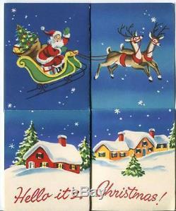 Vintage Santa Claus Sleigh Reindeer Night Star Snow Village House Card Art Print
