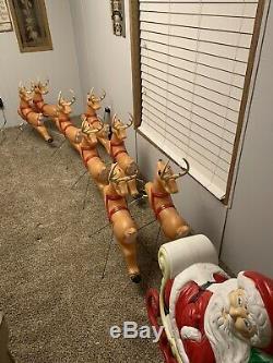 Vintage Santa Claus Sleigh Reindeer Outdoor Blow Mold General Foam Made in USA