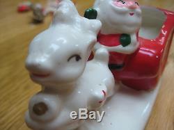 Vintage Santa Claus WithSled Sleigh Reindeer SSCO Japan Ceramic