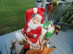 Vintage Santa Claus in Sleigh with Reindeer Lighted Christmas Blow Mold 37 in