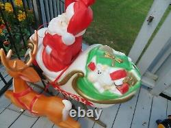 Vintage Santa Claus in Sleigh with Reindeer Lighted Christmas Blow Mold 37 in. VTG