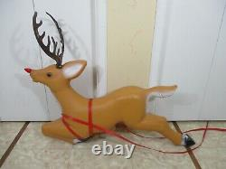 Vintage Santa Claus in Sleigh with Rudolph Reindeer Lighted Christmas Blow Mold