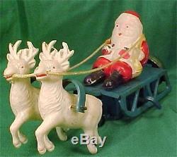 Vintage Santa Claus on Sleigh Windup Toy Celluloid Christmas Reindeer Bell Works