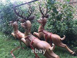 Vintage Santa In Sleigh & 3 Reindeer Lighted Poloron Blow Mold