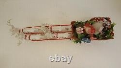 Vintage Santa Reindeer & Sleigh Molded Plastic 20 Long