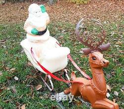 Vintage Santa Sleigh Reindeer Blow Mold RARE 1960s Outdoor Christmas Decoration