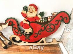 Vintage Santa Sleigh & Reindeer Christmas Decoration, Hand Made Circa 1950's