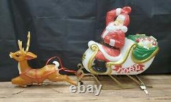 Vintage Santa Sleigh and 1 Reindeer Blow Mold Santa Claus