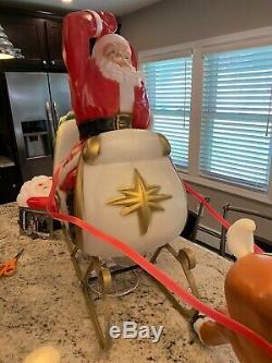 Vintage Santa Sleigh and Reindeer Lighted Blow Mold Christmas Yard Decor