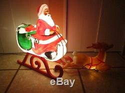 Vintage Santa Sleigh with Reindeer Lighted Blow Mold Christmas Decor 1989 by TPI