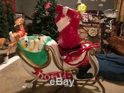 Vintage Santa Sleigh with Reindeer Outdoor Blow Mold