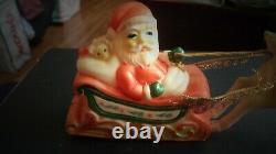 Vintage Santa Soft Rubber Riding Sleigh Leaping Reindeer Rudolph Swivel Head