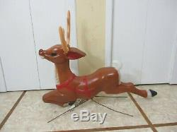 Vintage Santa on Sled with Rudolph Reindeer Lighted Christmas Blow Mold Decor