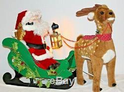 Vintage Santa's Best Animated Santa Sleigh & Reindeer Christmas Motionette