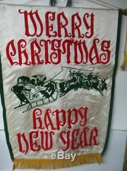 Vintage Satin Felt Christmas New Year Banner Santa Sleigh Reindeer