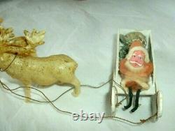 Vintage Spun Cotton & Chenille Santa, Composition, Reindeer, Paper Sleigh, Japan