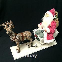 Vintage Style Santa Claus Sleigh Reindeer Center Piece Figurine