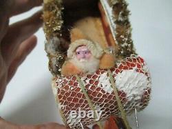 Vintage Very Unusual Cotton Santa Claus in Marvelous Sled w 1 Reindeer