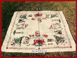 Vintage Whimsical RARE Xmas Tablecloth NOS 1950 Santa Reindeer Sleigh Dog House