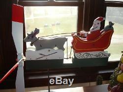 Vintage Whirligig Whirly Gig Santa Claus Sleigh Reindeer Fun Old Primitive VGC