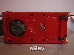Vintage Xmas Metal Battery Operated Toy Santa Soft Head Sleigh Reindeer