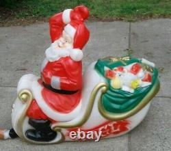 Vntg Empire Lighted Yard Blow Mold 38 x 36 SANTA CLAUS in SLEIGH with REINDEER