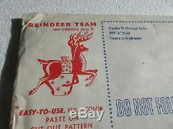 Vtg 1956 Plywood Assoc. X Mas Yard Figure Pattern Santa Claus Sleigh Reindeer