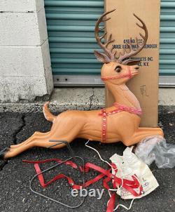 Vtg 2 Poloron Blow Mold 36 Large Illuminated Reindeer Box for Santa Sleigh NOS