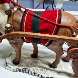 Vtg Animated Christmas Sleigh Holiday Creations Lighted Musical Santa w Reindeer