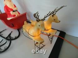 Vtg Brite Star Santa Sleigh and Reindeer Blow Mold Plastic 1950's RARE Works